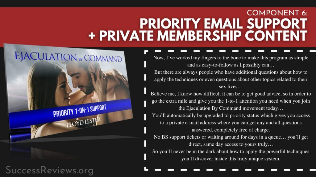 Ejaculation by Command component 6: Priority Email Support + Private Membership Content