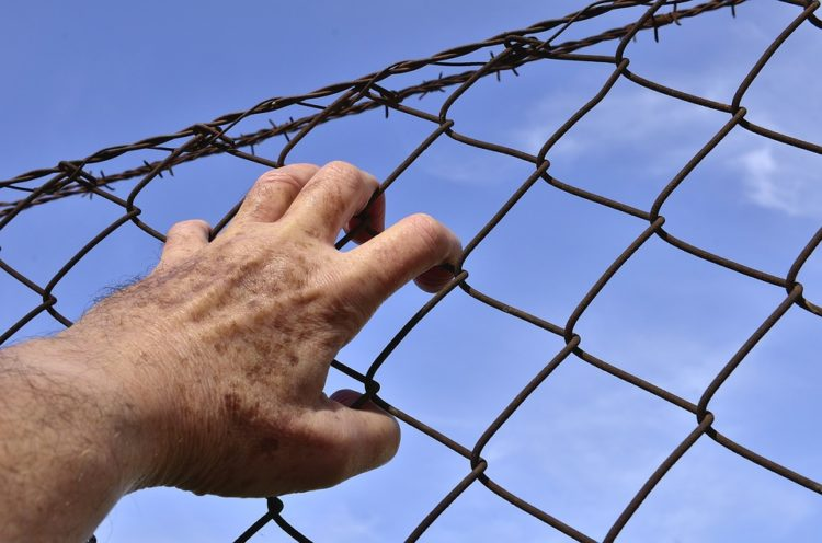 hand holding fence